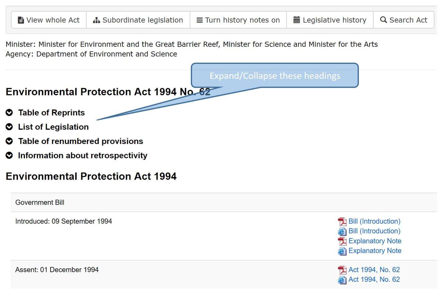 Collapse or expand legislative history headings